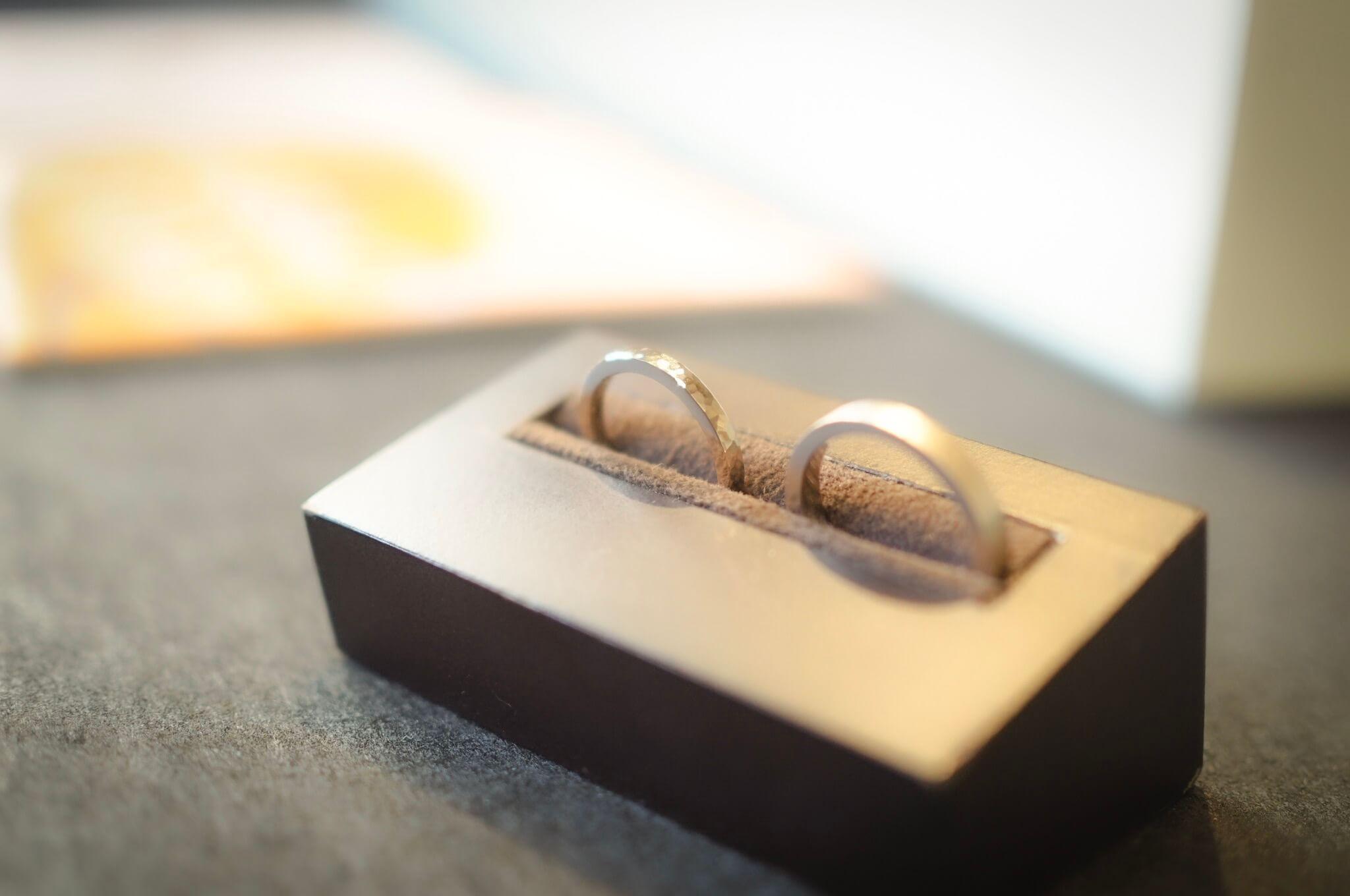 【お客様の声】シャンパンゴールドの手作り結婚指輪
