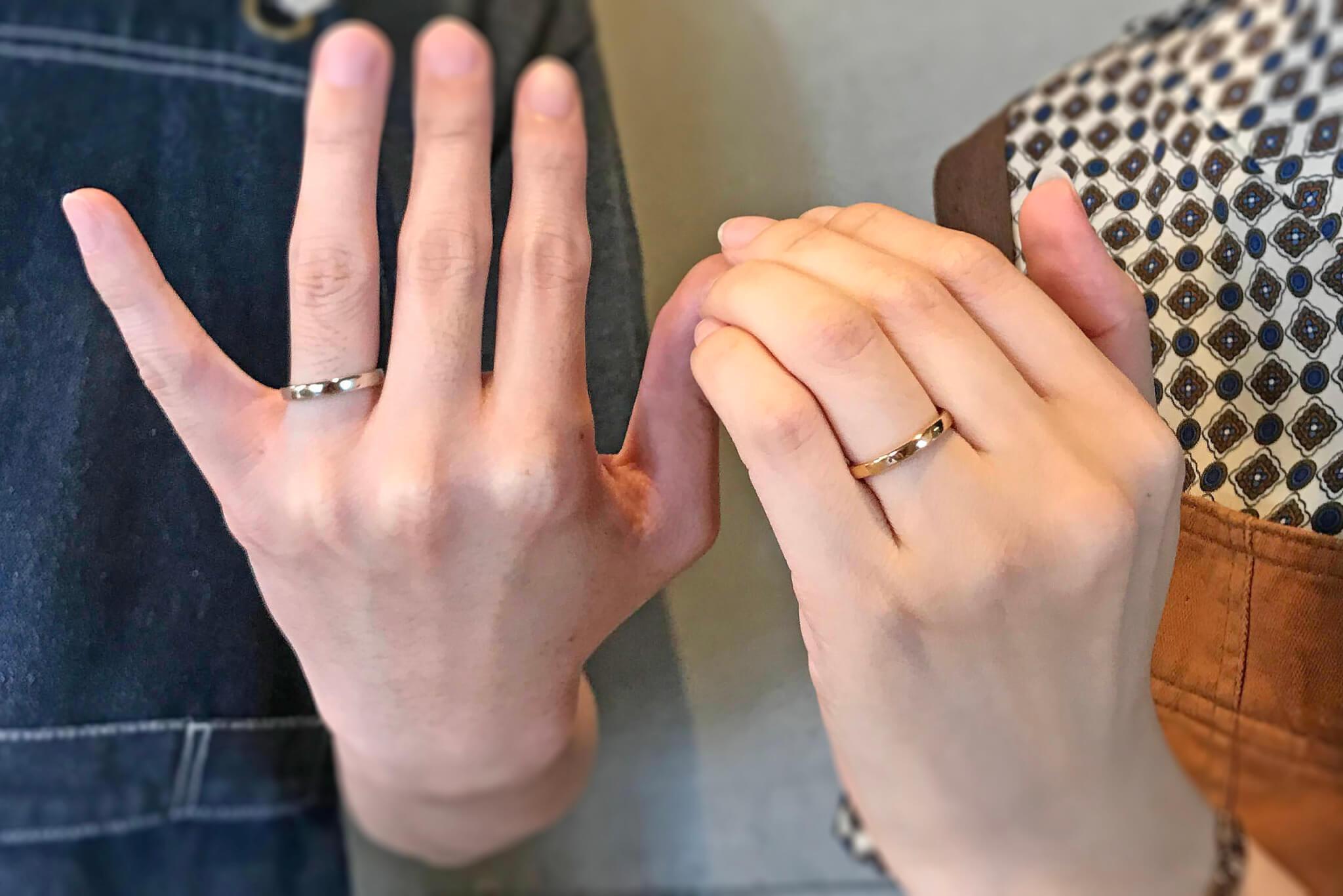 【お客様の声】K18イエローゴールドとプラチナ950の結婚指輪