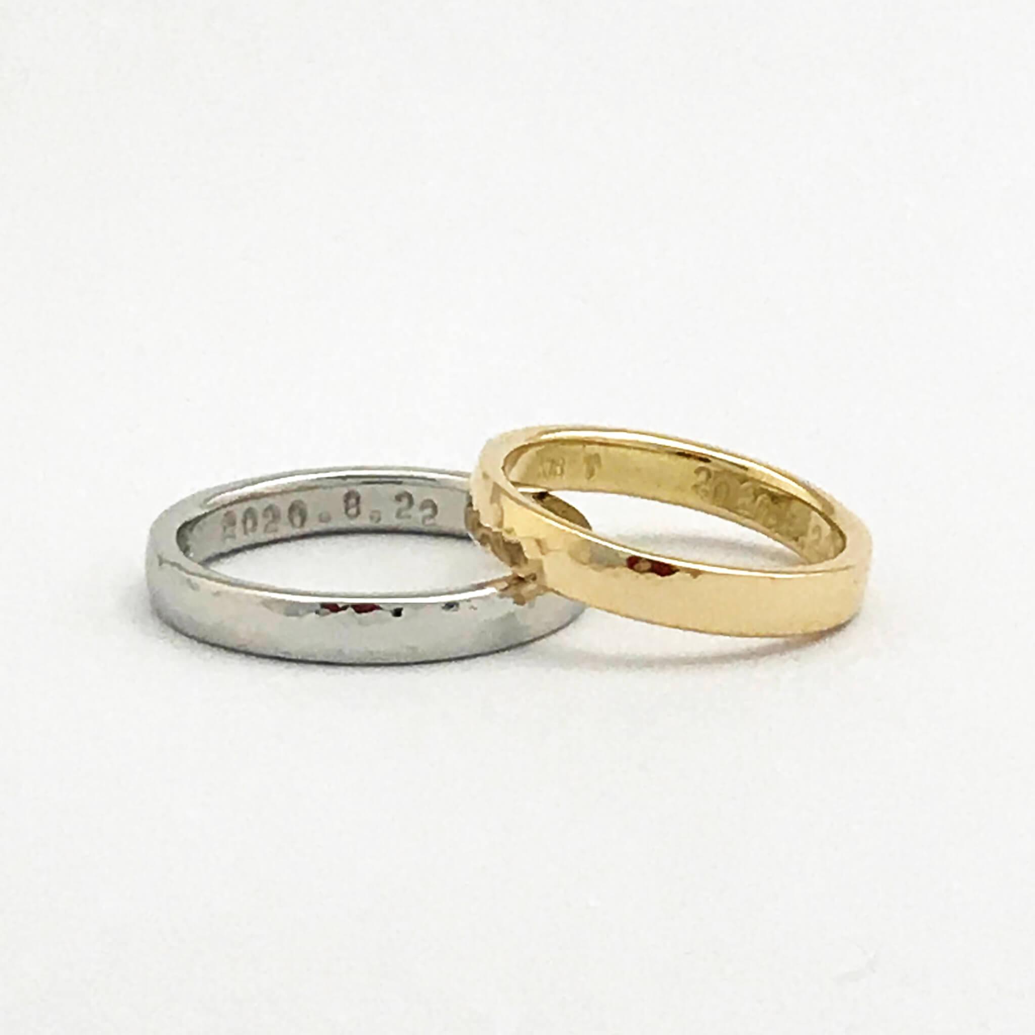【お客様の声】槌目の手作り結婚指輪