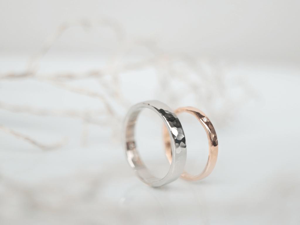 極太でユニークなデザインの手作り結婚指輪