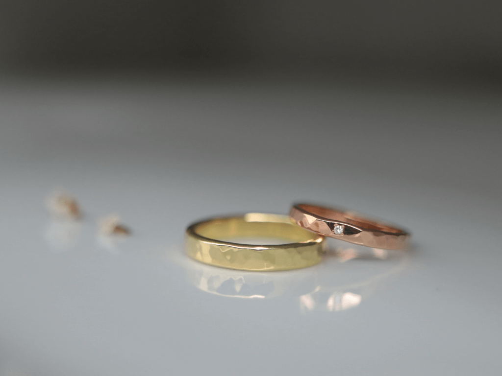 K18ライムゴールドとピンクゴールドの手作り結婚指輪