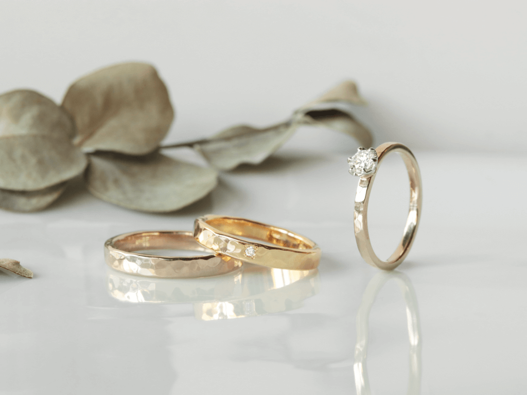 Hammered Texture Wedding Bands and Engagement Ring