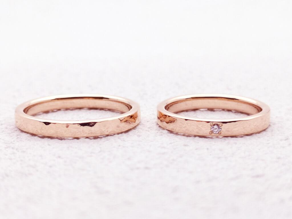 ピンクゴールドにピンクダイヤモンドが輝く手作り結婚指輪