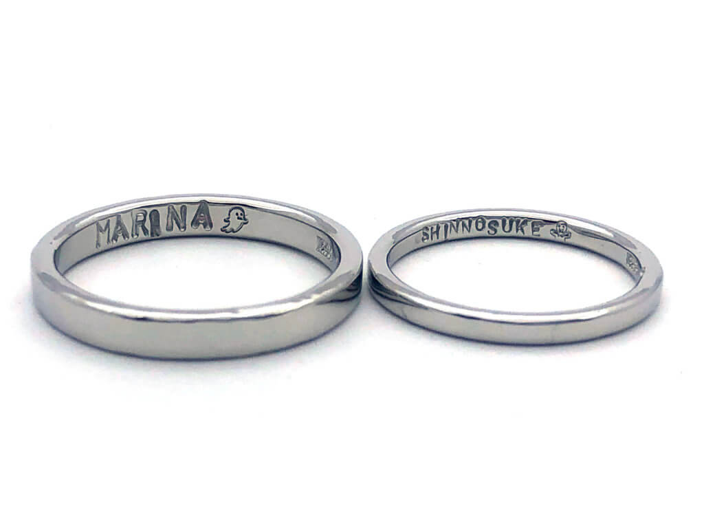 オリジナル刻印を使ったプラチナの結婚指輪