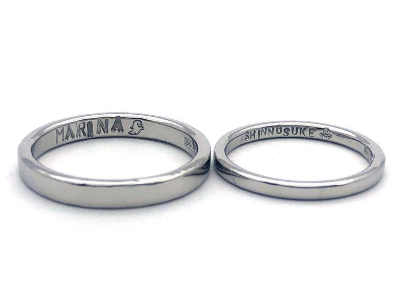 【お客様の声】つやつやプレーンの結婚指輪・お互いにぴったりの幅を選んで作る