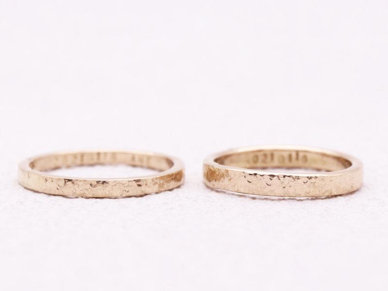 【お客様の声】シャンパンゴールドが輝くスノーフレークの結婚指輪