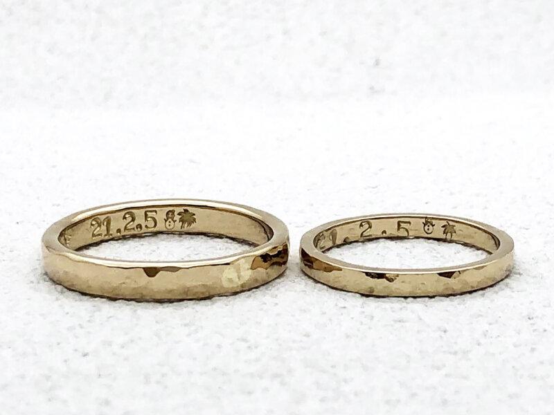 【お客様の声】手打ち刻印をいれた槌目の結婚指輪
