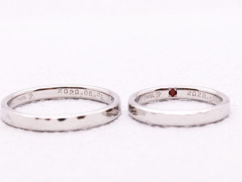 【お客様の声】ガーネットの入ったプラチナ結婚指輪