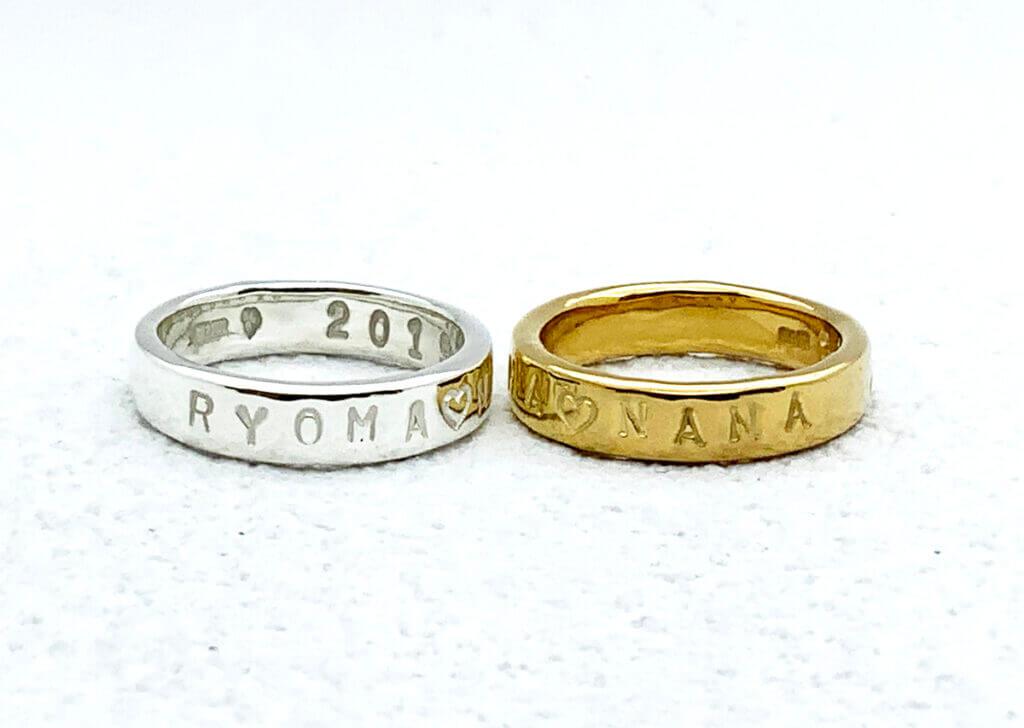 シルバーリングに自分で名前を刻印した指輪