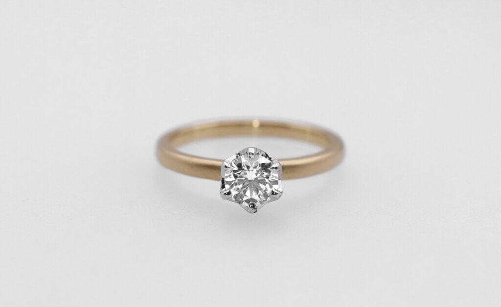 つや消ししたイエローゴールドに映えるダイヤモンドの婚約指輪