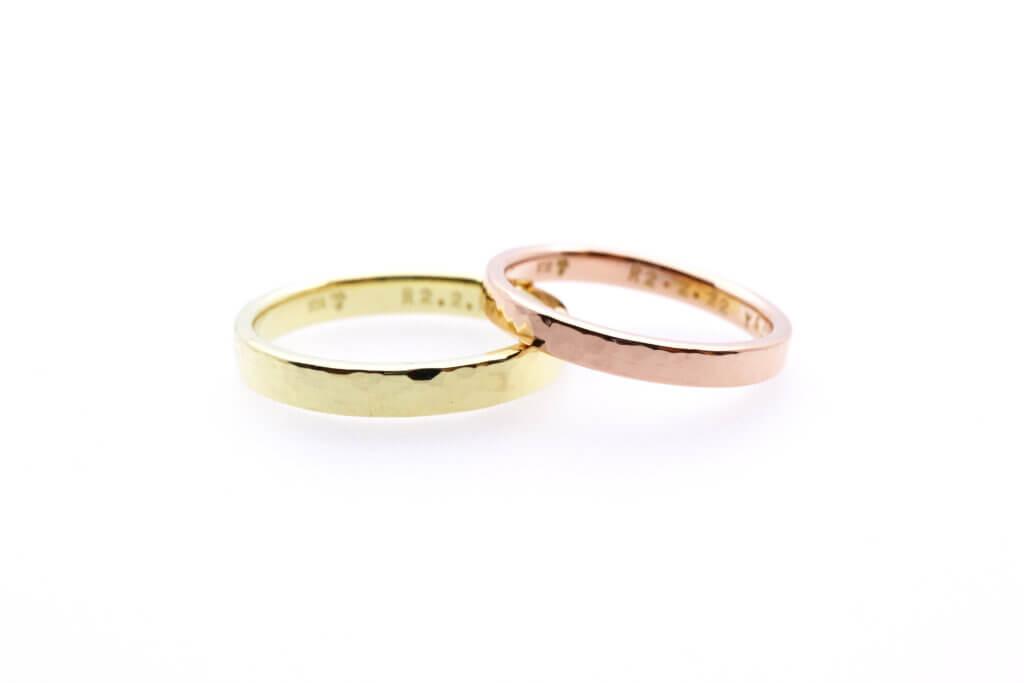 ライムゴールドとピンクゴールドの華やかな結婚指輪