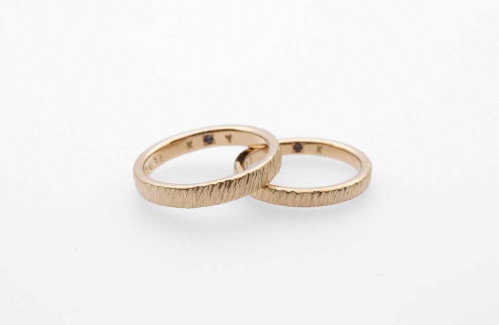 シャンパンゴールドで作ったフォレスタの結婚指輪