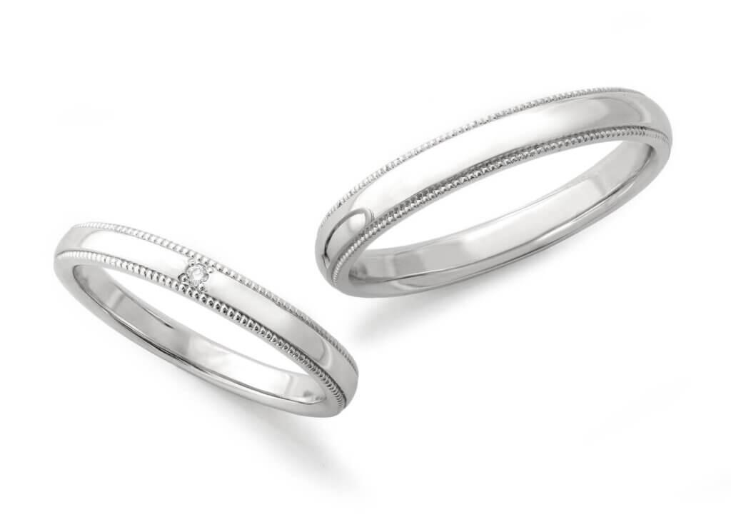 サイドミルの入ったプラチナ結婚指輪
